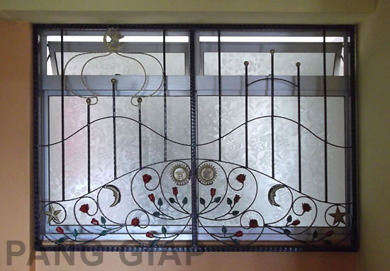 Wrought iron window grilles at yishun st