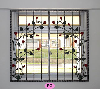 Wrought iron window grilles for Iron window design house